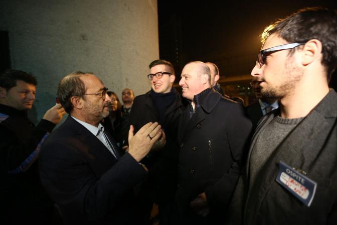 L'arrivo di Stefano Bonaccini in Regione, a Bologna, durante la nottata elettorale