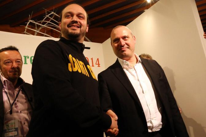 Bonaccini e il candidato leghista Alan Fabbri