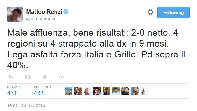 Il messaggio di Renzi nella notte elettorale