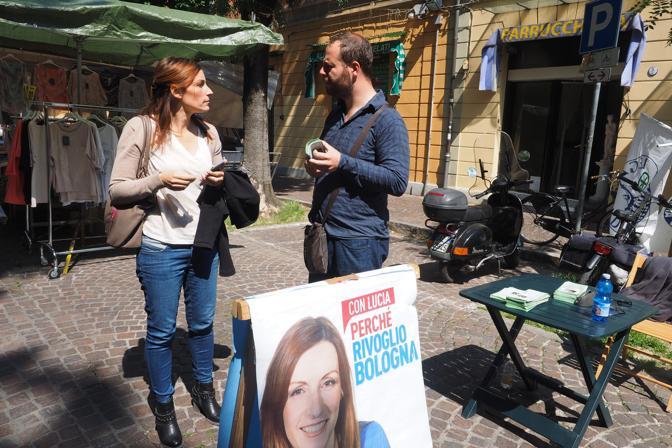 La candidata leghista in campagna elettorale