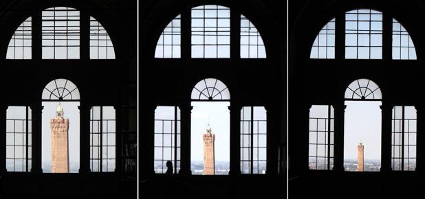 Rizzoli, la «magia» della torre  - Il corridoio «ottico» all'ospedale Rizzoli: più ci si avvicina alla finestra, più la torre degli Asinelli sembra allontanarsi (foto di Michele Nucci)