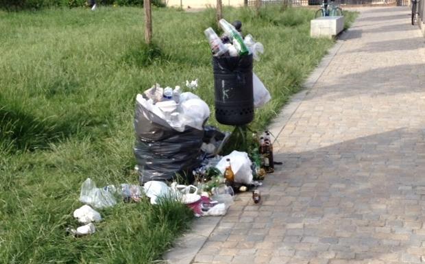 Rifiuti da parco  - «Questa è la situazione del giardino della Cineteca domenica 11.05.2014», ci scrive un lettore, che invia questa foto.