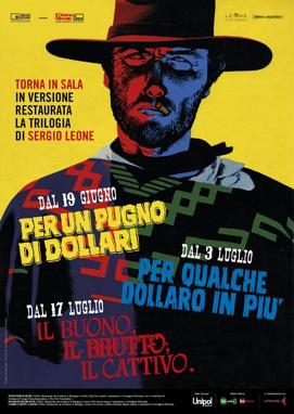 Il western torna al cinema -  Tre capolavori che hanno fatto la storia del western tornano restaurati dalla Cineteca di Bologna sul grande schermo: «Per un pugno di dollari», «Per qualche dollaro in più» e «Il buono, il brutto, il cattivo» saranno nelle sale The Space Cinema, a partire dal 19 giugno nell'ambito del progetto Il Cinema Ritrovato.  La Trilogia del dollaro è stata presentata nella nuova veste restaurata al 67° Festival di Cannes, per celebrare il 50° compleanno del suo primo capitolo «Per un pugno di dollari», il film che nel 1964 lanciò l'icona western di Clint Eastwood.  Il primo appuntamento al cinema è a partire dal 19 giugno con il film «Per un pugno di dollari». Dal 3 luglio sarà sul grande schermo «Per qualche dollaro in più» e dal 17 luglio sarà la volta de «Il buono, il brutto, il cattivo».  I biglietti sono in prevendita alle casse di ogni cinema, al numero 892.111 e online sul sito www.thespacecinema.it