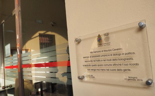 Per il Cev - Una nuova targa dedicata alla memoria di Maurizio Cevenini nella sede del quartiere San Vitale